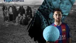 Soccer stars Lionel Messi and Neymar Junior kick off campaign to help refugees