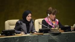 H.E. Alya Ahmed Saif Al-Thani, Vice-President of the seventy-third session of the General Assembly and Permanent Representative of Qatar to the United Nations (left) addresses the Assembly on 2 April 2019.