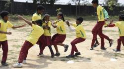 Boys and girls playing together. One of our main focus is on gender inclusion during the sports sessions.