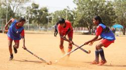 Girls playing hockey in Anantapur