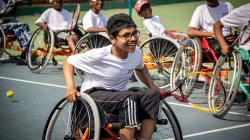 Junior wheelchair tennis players training at IWTT's 'The First Serve' Program in Bengaluru, India (2018)