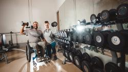 Weights training in a wheelchair