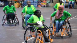 Women in wheelchairs in Kenya playing sport