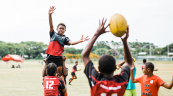 Fijian children playing football