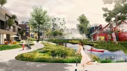 An illustration showing how residents might move around the new district - walking, on a scooter or even by canoe.