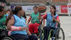 Girls in Nepal playing wheelchair basketball