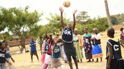 Girls playing netball in Malawi