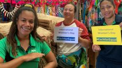 NRL Samoa development officers Gaufa Salesa and Lepa Faaiuaso spread the IWD2020 message (NRL Samoa)