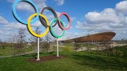 The Olympic Rings outside a stadium
