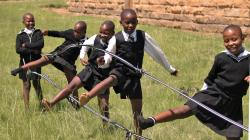 A group of girls playing a traditional sporting game in Lesotho