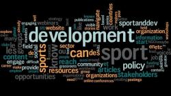 Word cloud reflecting user responses to question 9: What could sportanddev improve on?