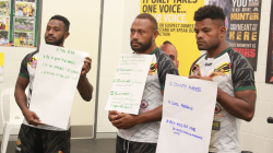 PNG Hunters players outline their pledges to address violence in their communities (NRL PNG)