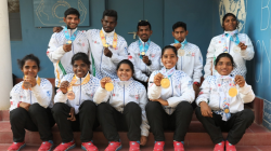 Indian girls holding medals
