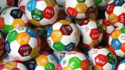 Soccer balls with the SDGs printed on them