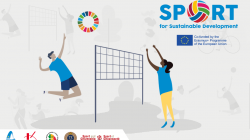 Illustration of young people playing volleyball with the SDGs logo