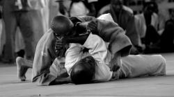 two men practising judo