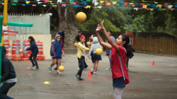 A girl practising basketball