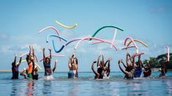 Women in Vanuatu doing aqua aerobics
