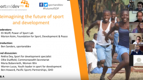 A screenshot of the sportanddev webinar