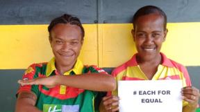 Vanuatu women's national cricket player Nasimana Navaika and programme officer Lucien Taiwia are #EachforEqual thanks to the PSP cricket programme.