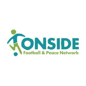 Onside Football a& Peace Network logo featuring a player with a ball.